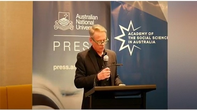 Professor Mark Kenny launching Morrison's Miracle: The 2019 Australian Federal Election. Bookplate Café, National Library of Australia.