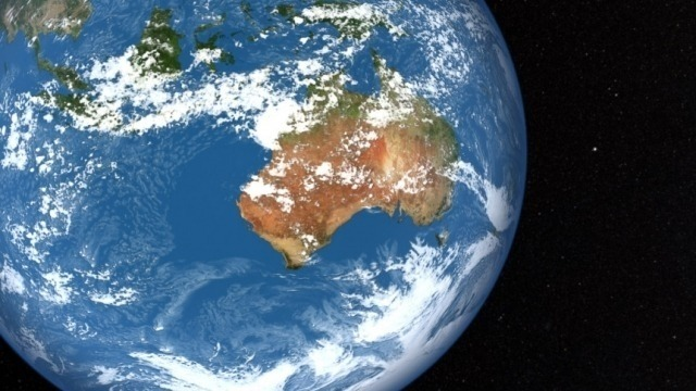 Image of the globe from space focusing on Australia