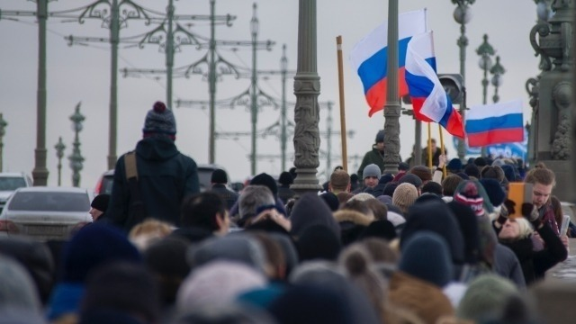 People protesting in Russia