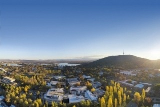 Aerial shot of Canberra, ANU Campus, with Telstra Tower in background